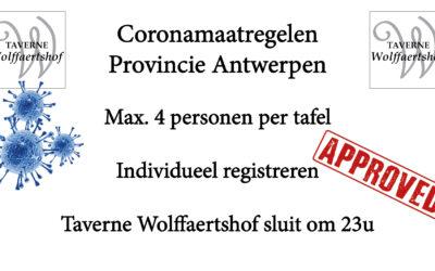 Definitieve coronamaatregelen provincie Antwerpen