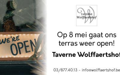 Terras opnieuw open vanaf 8 mei